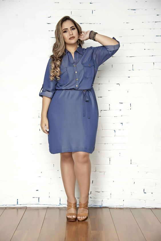 vestidos-jeans-gordinhas | Marisa in 2019 | Plus size outfits, Demin dress, Plus size dresses