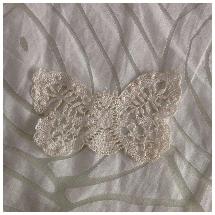Vintage Lace Crochet Butterfly Doilie, Dressing Table Linens by BoBisBitsofVintage on Etsy