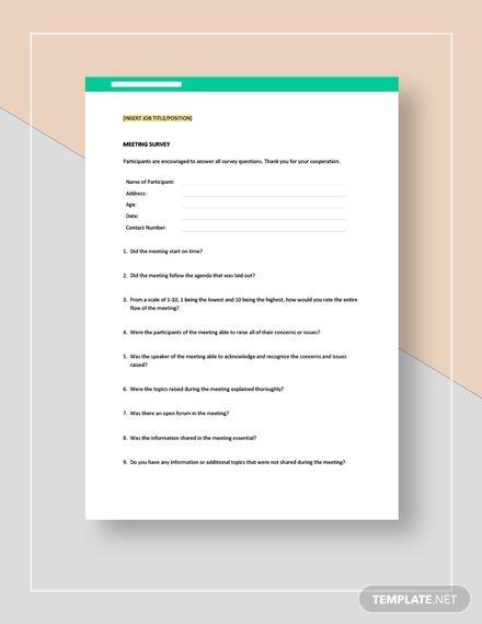 Meeting Survey Template Word Doc Apple Mac Pages Google Docs Survey Template Survey Template Word Word Doc