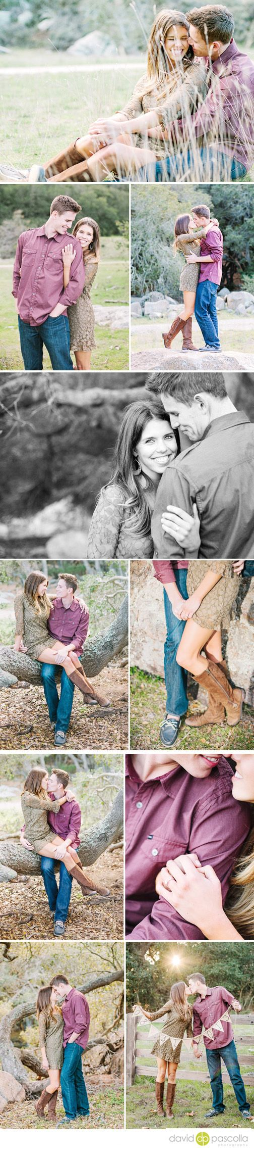 Rustic engagement session. Engagement posing. Engagement outfit. Boots, dress. David Pascolla Photography