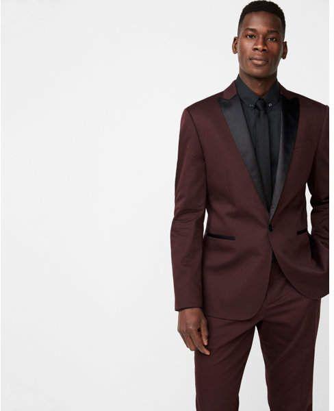 f60efdea83415b Express slim burgundy satin peak lapel cotton sateen tuxedo jacket ...