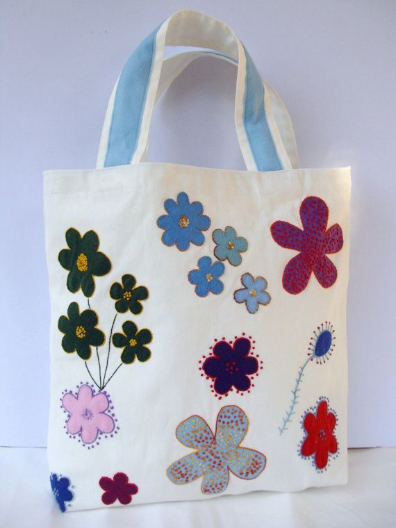 Spring Summer tote / Canvas white appliqued handmade by Apopsis, $70.00