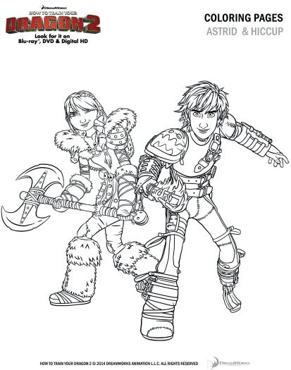 How to Train Your Dragon 2 Coloring Page - Astrid and Hiccup