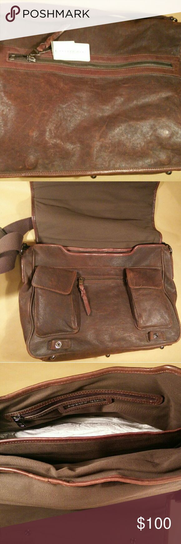 Andrew Marc Andrew Marc brown leather laptop bag Andrew Marc Bags Laptop Bags