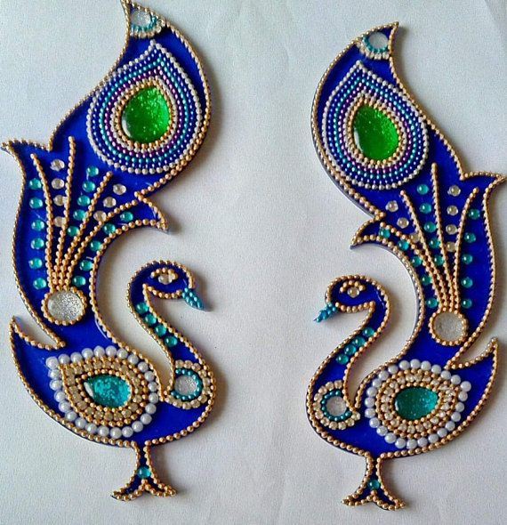 Beautiful kundan rangoli floor art peacock design wedding for Aarti thali decoration with kundan