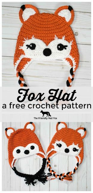 This free crochet fox hat pattern comes in three sizes- toddler, child, and teen/adult. Super cute for a fox fan!