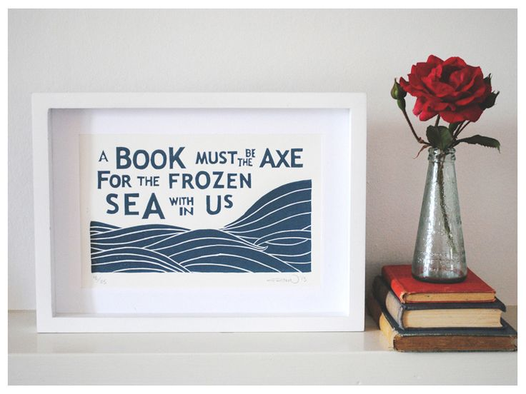 Frozen Sea Block Print - Limited Edition of 35   Papirklipp  http://papirklipp.bigcartel.com/product/kafka-quote-linoleum-block-print