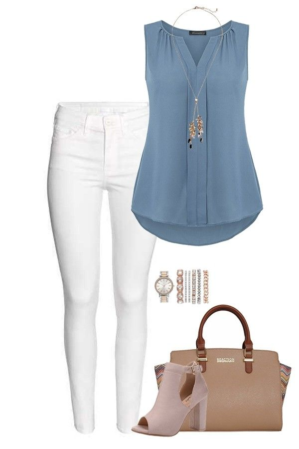 Solid chiffon top + white pants