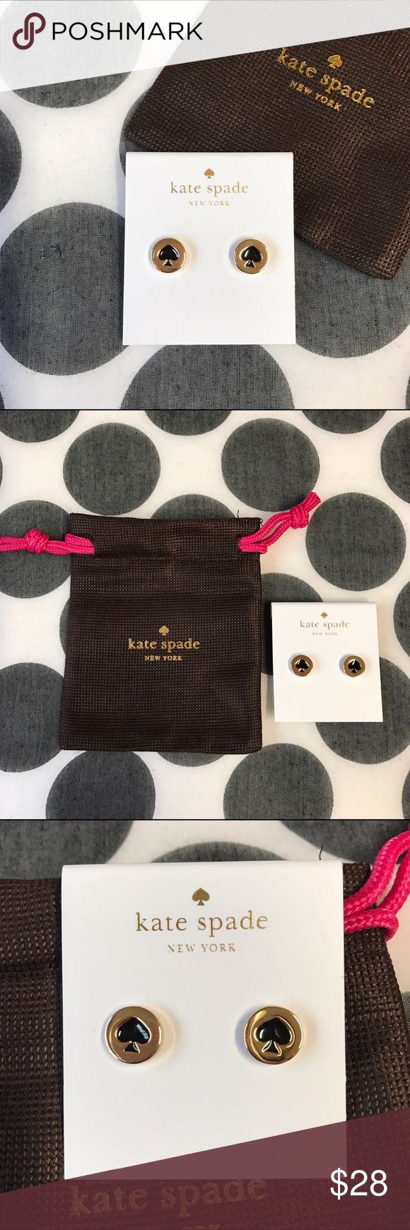 "KSNY studs earrings (gold/black spade) Authentic Kate Spade studs earrings in gold ""spot the spade"" black spade; brand new; includes dust bag as pictured. kate spade Jewelry Earrings"