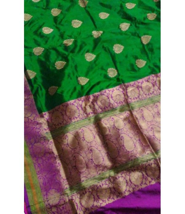 Green Pure Banarasi Handloom Katan Silk Saree