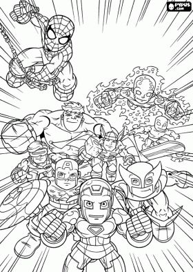 Marvel Superheroes, Super Hero Squad coloring page - online coloring