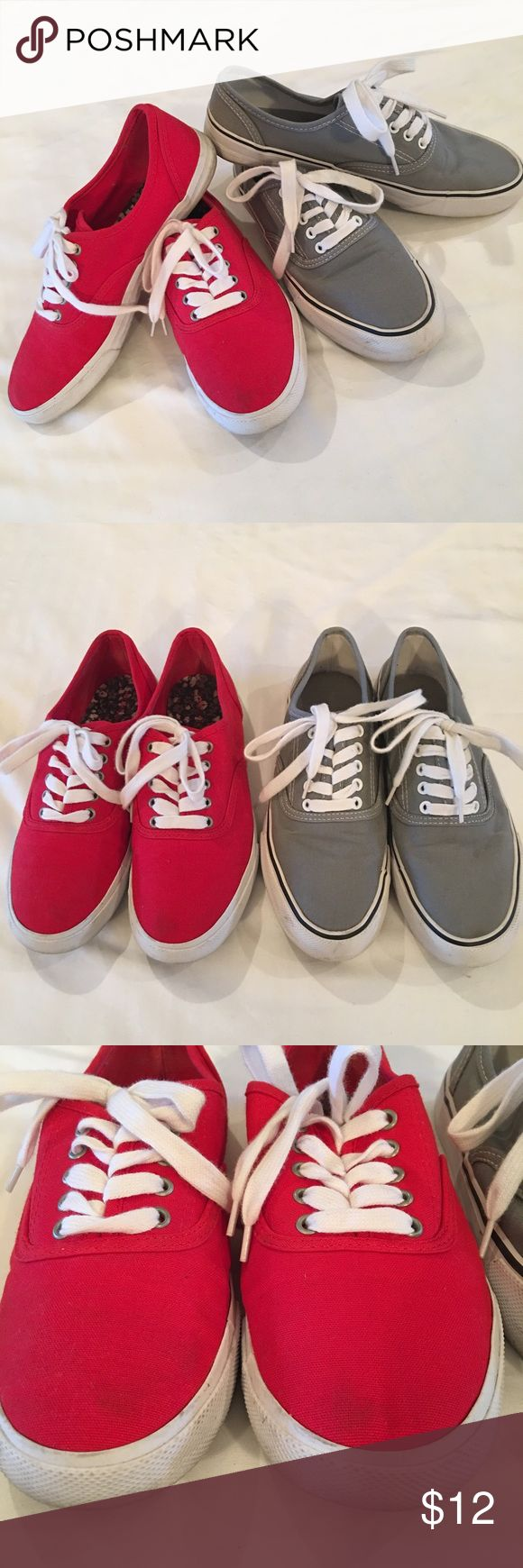 Red and Gray Sneakers Lot Fun bright red shoes look like Keds and the gray ones look like Vans. Both are size 9, both are Mossimo Supply Co. They show a little wear, see photos. The photo shows way more wear on the red toes then actually show in person. Wear is hardly noticeable. Sold together for price listed. Mossimo Supply Co. Shoes Sneakers