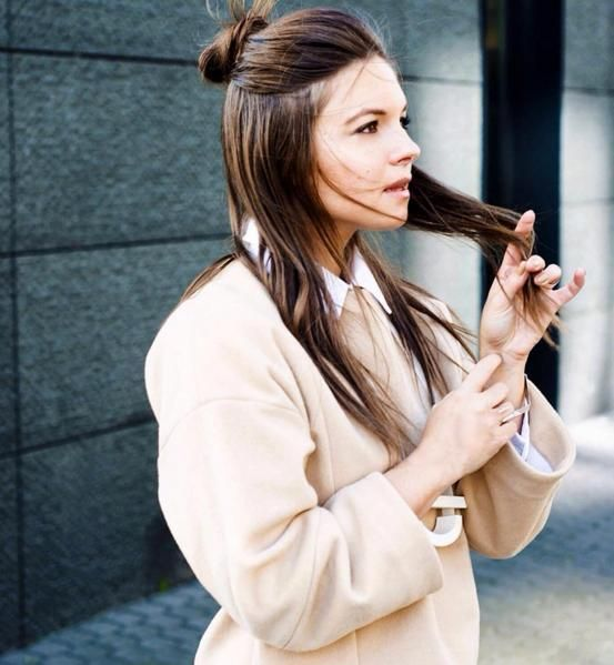 These polished takes on the hip hair trend show us how to pull off a half bun like a grownup.