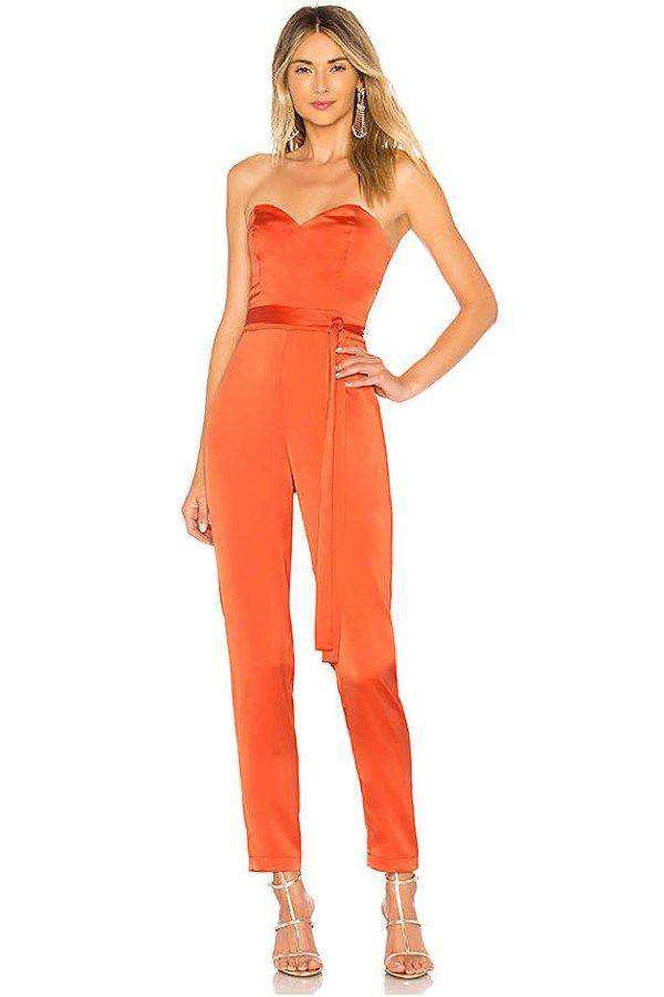 6955f06cf1a Strapless Evening NBD Dex Jumpsuit is the elegant chic orange jumpsuits you  can wear to a wedding!  wedding  jumpsuit  orange  weddingguest   weddingoutfit ...