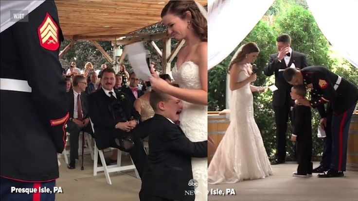 Marine's Son hugs new Step-Mom and Cries during Wedding Vows | Adorable. https://www.facebook.com/ABCNews/videos/10156093916873812/ A little background: http://www.kake.com/story/35955735/4-year-old-boy-cant-contain-emotion-during-stepmoms-heartfelt-wedding-vows