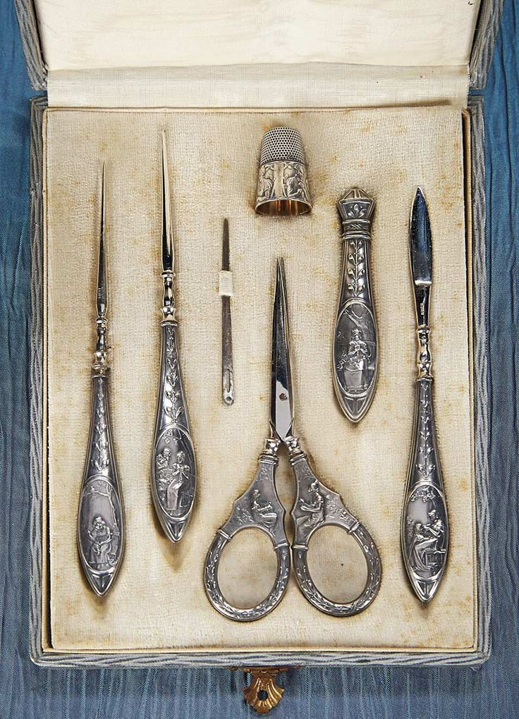 German Sewing Necesaire with Silver Tools Depicting the Stages of a Woman's Life. http://Theriaults.com/