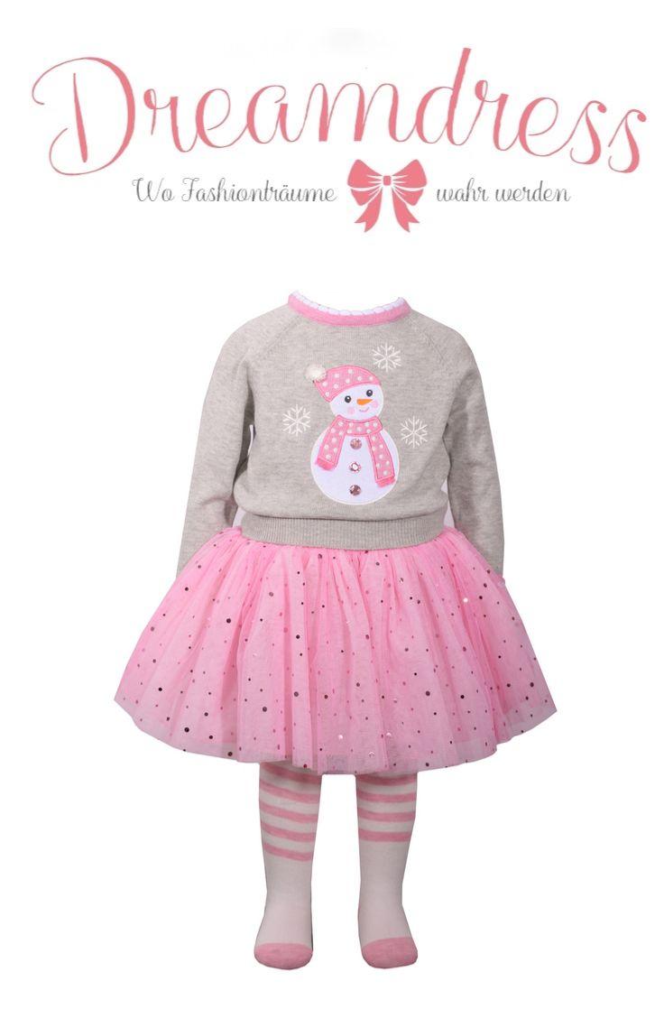 Schneemann Tutu! Hübscher 3-Teiler, Pulli Rock & Strümpfe aus der Bonnie Jean Weihnachtskollektion findest Du jetzt auf Dreamdress.at #Girlsfashion, #LittleFshionista, #Maedchenmode, #wintermode
