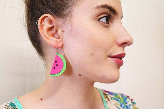 These juicy watermelon earrings are the perfect compliment to any summer outfit. Cool off in the heat with these unique fruit earrings, made