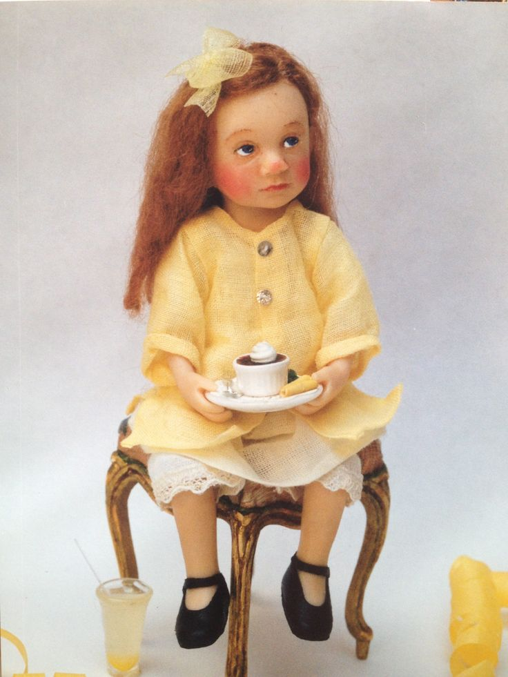 Tea time OOAK dollhouse sized doll by Catherine Muniere