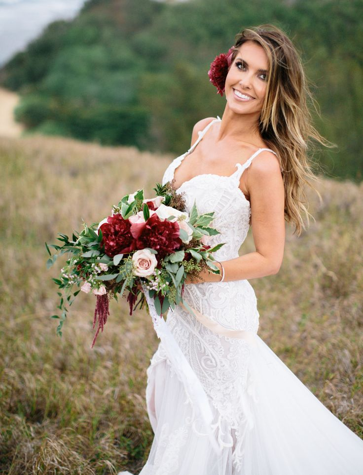 Burgundy and blush wedding bouquet from Audrina Patridge's Wedding