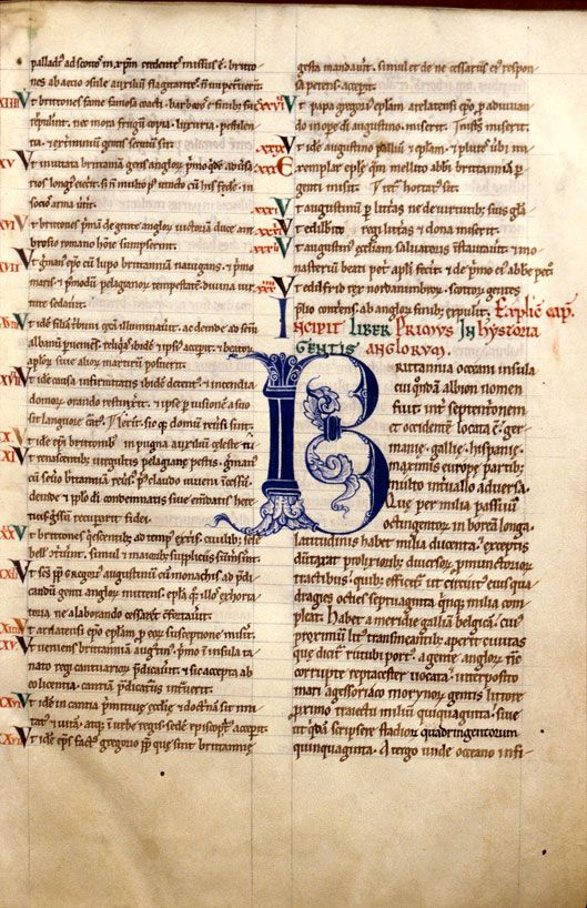 Bibliothèque municipale de Dijon - ms. 0574, f. 003 Historia ecclesiastica gentis Anglorum / Beda. - Initiale de couleur ornée « cliché CNRS - IRHT »