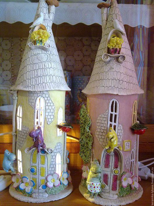 """Освещение ручной работы. Ярмарка Мастеров - ручная работа. Купить Светильник """"Домики Мумиков"""".. Handmade. Бледно-розовый, светильник, розовый"""