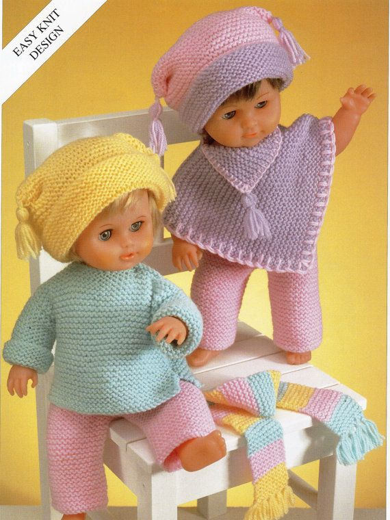 2DC009  Baby Dolls Knitting Pattern Baby Dolls Set trouser suit poncho hat Easy Knit 12-22 inch doll DK Dolls Knitting Patterns PDF Instant Download