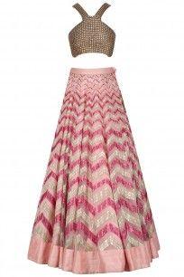 Pink Sequinned One Shoulder Crop Top and Lehenga Set