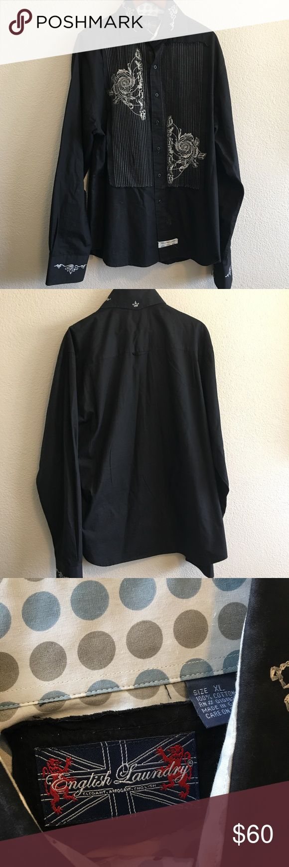Men's English Laundry Dress Shirt Collared English Laundry long sleeve dress shirt with embroidered detail button down in size XL English Laundry Shirts Dress Shirts