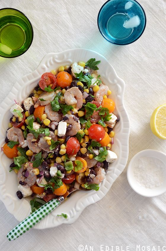 Shrimp, Black Bean, and Tomato Salad with Feta and Spicy Southwest Dressing Recipe #seafood