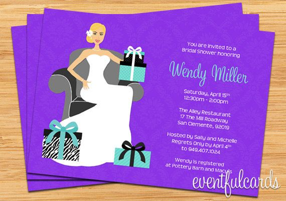 Purple and Turquoise Bridal Shower Invitation by eventfulcards