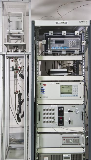 BIPM facility for dynamic generation of nitrogen dioxide in nitrogen mixtures in the range 1 µmol/mol to 15 µmol/mol.