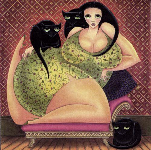 'Catlady' - watercolors by SimpleSue aka Sue Hughes.
