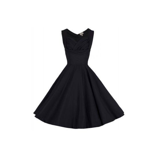 Lindy Bop Ophelia Black Šaty ve stylu 50. let. Krásné šaty v klasické matné černé, vhodné do společnosti. Zajímavě řešený výstřih dodá na rafinovanosti, skvěle padnou, pružný strečový materiál (97% bavlna, 3% elastan), pro dokonalý vzhled a objem doporučujeme doplnit spodničkou z naší nabídky, buď ve stejném nebo kontrastním tónu.