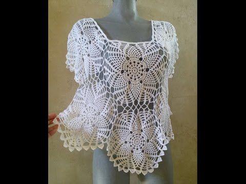 Blusa clasica de piñas tejida en algodón parte 1 - YouTube