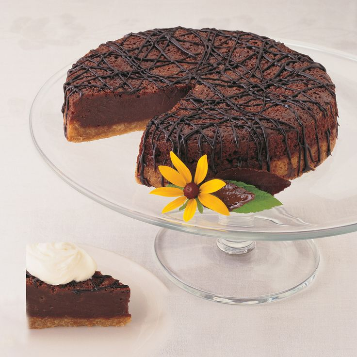 Fudge Brownie Torte  Rich fudgy top, crunchy oatmeal crust. We love it with ice cream or chocolate sauce drizzled on top!