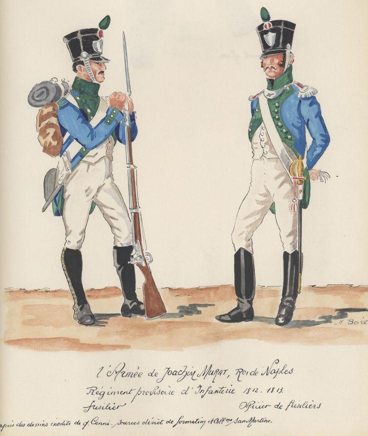 Naples; Provisional Infantry Regiment, Fusilier Officer & Fusilier, 1812-13 by H.Boisselier
