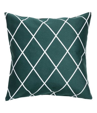 Dark green/patterned. Cushion cover with a jacquard-weave pattern at front and solid color at back in woven cotton fabric. Concealed zip.