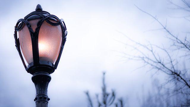 램프, 저녁, 도시의, 빛, 황혼, 광선, 조명, 칸델라, 거리