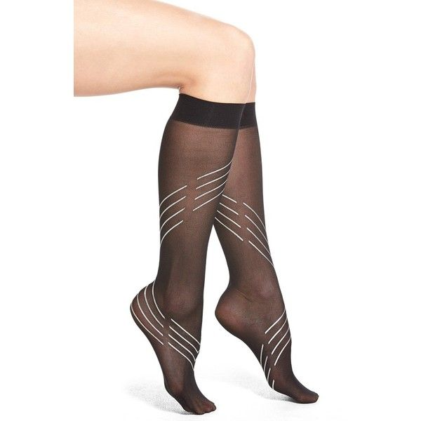 Stance 'Blackout' Sheer Knee High Socks ($12) ❤ liked on Polyvore featuring intimates, hosiery, socks, black, elastic socks, fancy socks, knee-high socks, nylon hosiery and stance socks