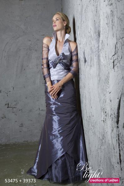 Trouwjurk Creations of Leijten 53474 2-delige taft jurk met opstaande kraag in kleuren combinatie, in elke kleur mogelijk