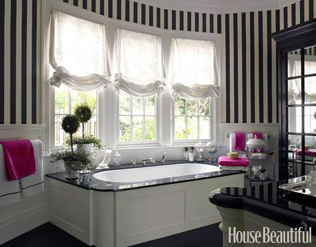 Love the pink accents in this black and white bathroom.: Bathroom Stripes, Stripes Wall, Black And White, Dreams Bathroom, Black White, Hot Pink, Bathroom Ideas, White Bathroom, Master Bathroom