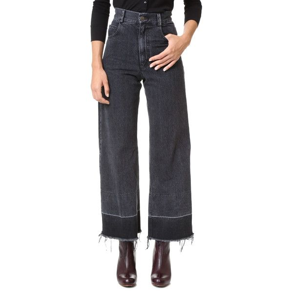 Rachel Comey Rachel Comey Legion Jeans - Washed Black (22,350 INR) ❤ liked on Polyvore featuring jeans, frayed-hem jeans, zip jeans, wide leg jeans, zip fly jeans and 5 pocket jeans
