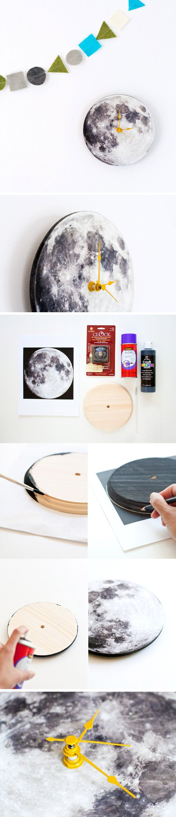 DIY Moon Clock. The original tutorial is on www.hellobee.com -I just liked this picture best. This will be perfect for the woodland nursery!