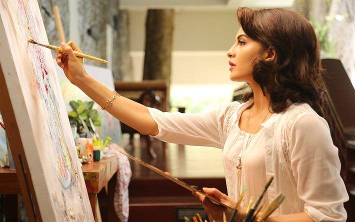 Jacqueline Fernandez, Indian actress, artist, beautiful woman, painting, easel