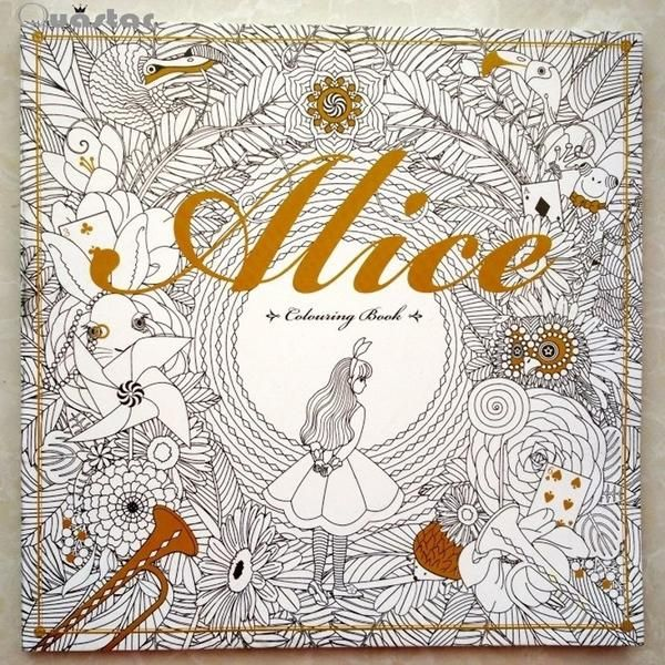 96 Pages Alice In Wonderland Colouring Book For Adult Relieve Stress Secret Garden Style Graffiti Painting Cheap BooksPainting DrawingColoring