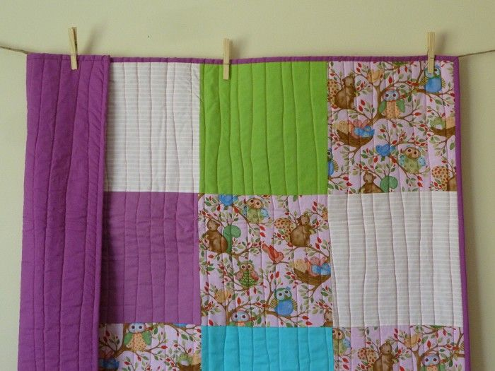SALE Woodland purple and pink Girls cot size Quilt - by lovebea on madeit. Lovely handmade quilt.
