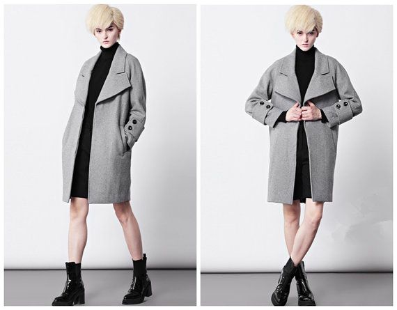 Wool coat for women in gray detail at cuff from BWG studios.