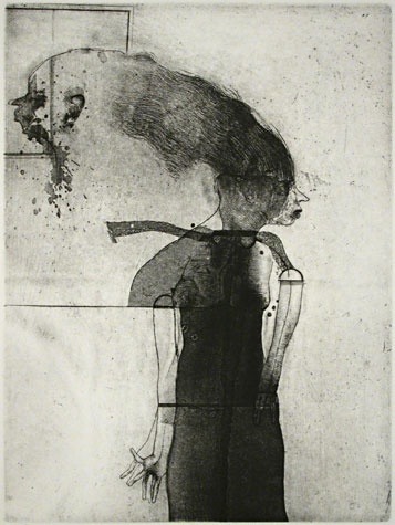 Robert E. Marx. Daughters of Lotti, 1995. Etching. Edition of 25. 11-3/4 x 8-3/4 inches.