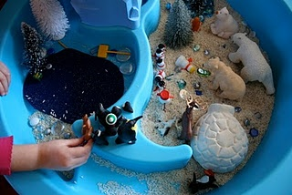 Winter rice sensory table (using summer water table)